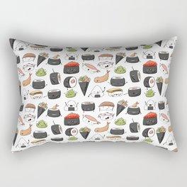 Watercolor Sushi Doodle Rectangular Pillow
