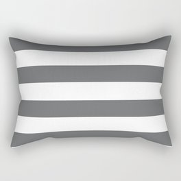Simply Striped in Storm Gray and White Rectangular Pillow