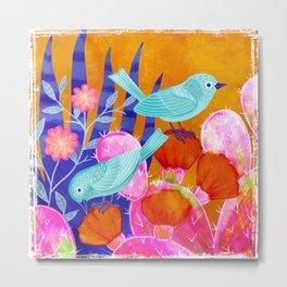 Cactus Birds Metal Print