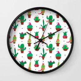Winter Cactus Wall Clock
