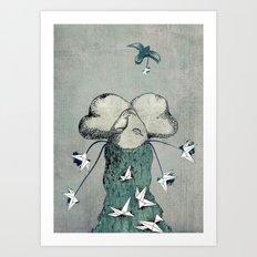 Origami's passion -  a collaboration between Christelle Guilhen and Gwenola de Muralt Art Print