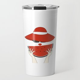beautiful young woman with red hat, sunglasses and watermelon slice Travel Mug