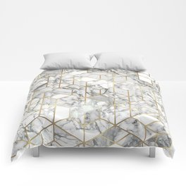White marble geomeric pattern in gold frame Comforters