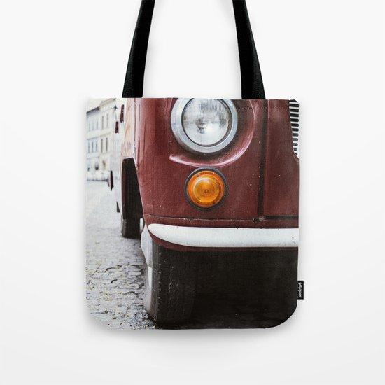 Retro Red Car Tote Bag