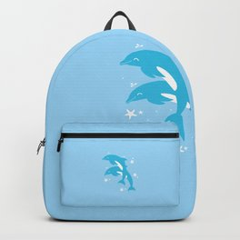Sealife (Dolphins) - Pale Blue Backpack
