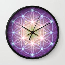 Purple Flower of Life Wall Clock