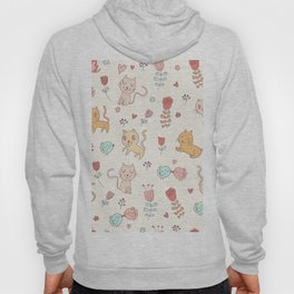 Cute Cats And Birds Pattern Hoody