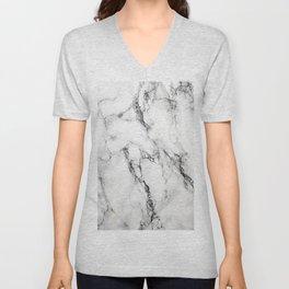 White Marble Texture Unisex V-Neck