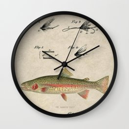 Vintage Rainbow Trout Fly Fishing Lure Patent Game Fish Identification Chart Wall Clock