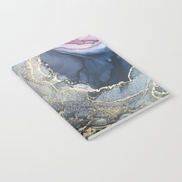 Blush, Payne's Gray and Gold Metallic Abstract Notebook