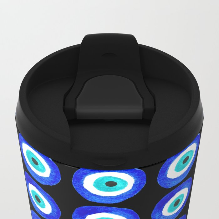 Evil Eye Amulet Talisman - on black Metal Travel Mug