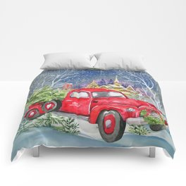 Red Truck With Christmas Tree Comforters