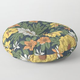 Vintage floral pattern. Yellow and white flowers. Floor Pillow