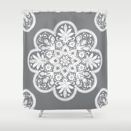 Floral Doily Pattern | Grey and White Shower Curtain