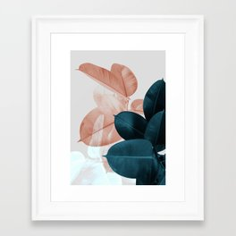 Blush & Blue Leaves Framed Art Print