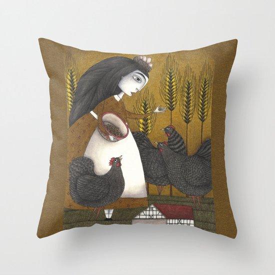 Ira's Hens Throw Pillow