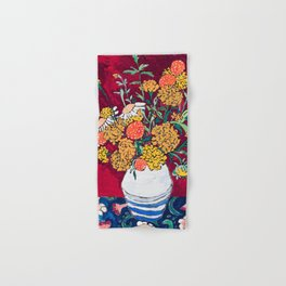 Marigold, Daisy and Wildflower Bouquet Fall Floral Still Life Painting on Eggplant Purple Hand & Bath Towel