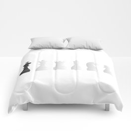 All white one black chess pieces Comforters