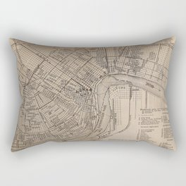 Vintage Map of New Orleans Louisiana (1902) Rectangular Pillow