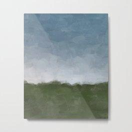 Dark Green Sky Blue White Gray Clouds Dusk on Farm Abstract Nature Rural Farmhouse Painting Art Print Wall Decor  Metal Print