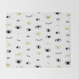 Funny fashion gold and black cute eyes pattern  Throw Blanket