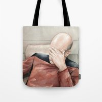 meme Tote Bags featuring Picard Facepalm Meme by Olechka