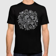 Jacobean Inspired Light on Dark Grey Floral Doodle 2X-LARGE Mens Fitted Tee Black