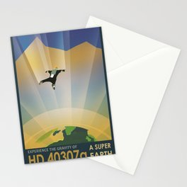 A Super Earth Retro Space Poster Stationery Cards