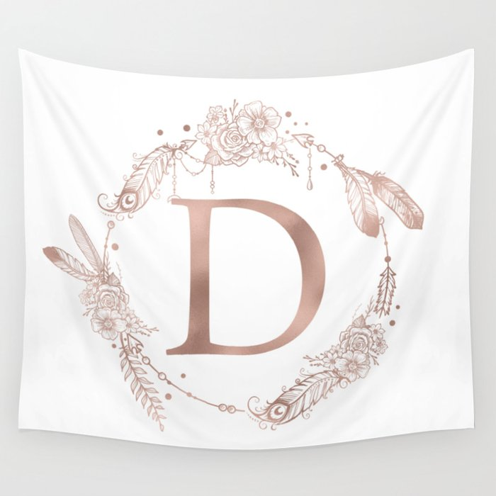 Letter D Rose Gold Pink Initial Monogram Wall Tapestry