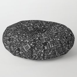 All Tech Line INVERTED / Highly detailed computer circuit board pattern Floor Pillow