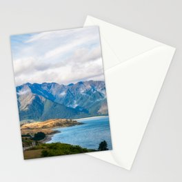 Mountain range picturesque view at Lake Hawea in New Zealand. Stationery Cards