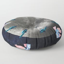 swimming moon Floor Pillow