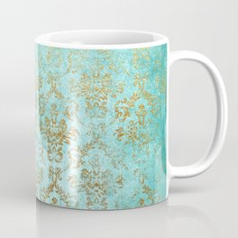 Mermaid Gold Aqua Seafoam Damask Coffee Mug