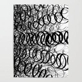 Black Spiral Swirls Poster