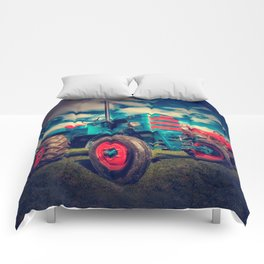 Cool Blue Red Vintage Tractor Comforters