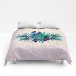 Peacock Feather Flowers Comforters