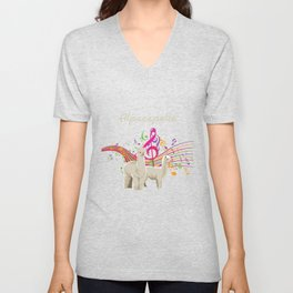 Cute And Funny Alpaca Alcapella Musician Gift Unisex V-Neck