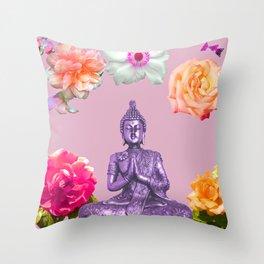 Lavender Buddha Throw Pillow
