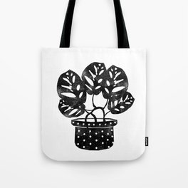 Monstera obliqua linocut black and white potted plant minimal house plants cute zen vibes yoga art Tote Bag