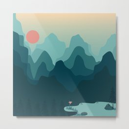 Forest and Mountian Metal Print
