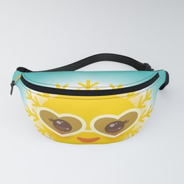 Kawaii funny sun with sunglasses pink cheeks and eyes. Hot summer day Fanny Pack