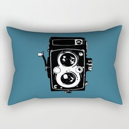Big Vintage Camera Love - Black on Teal Background Rectangular Pillow