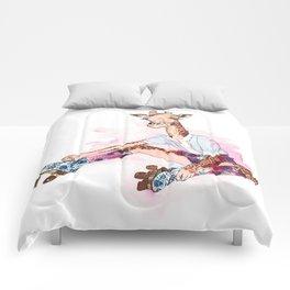 Roller Skating Giraffe Watercolor Comforters