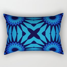Pinwheel Flowers Classic Blue Gradient Rectangular Pillow