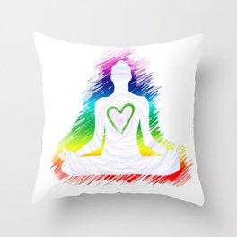 Meditation and love energy Throw Pillow