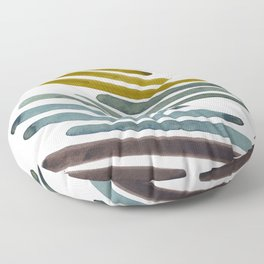 Olive Green Navy Blue Watercolor Colorful Stripes Mid Century Modern Art Primitive Abstract Art Floor Pillow