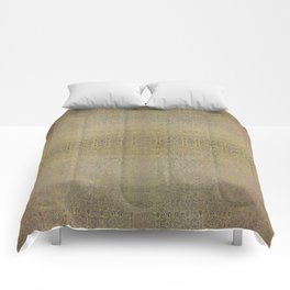 Gold and Silver Leaf Bridget Riley Inspired Pattern Comforters