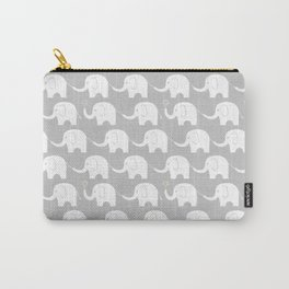 Elephant Parade on Grey Carry-All Pouch