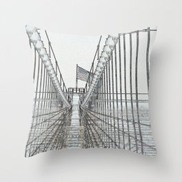 Brooklyn Bridge Cables Abstract Throw Pillow