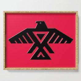 Animikii Thunderbird doodem on red Serving Tray